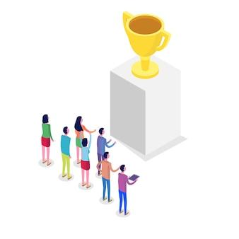 Trabajo en equipo, logro de objetivos exitosos, motivación y desarrollo del concepto isométrico. ilustración.