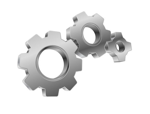 Trabajo en equipo del mecanismo de engranajes metálicos