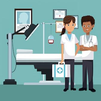 Trabajo en equipo médico en dibujos animados de oficina
