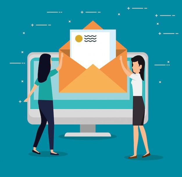 Trabajo en equipo de mujeres con mensaje de carta de computadora