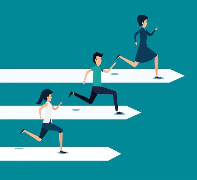 Trabajo en equipo de negocios corriendo hacia la meta