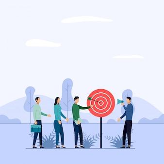 Trabajo en equipo de negocios objetivo, flecha golpeando un objetivo,