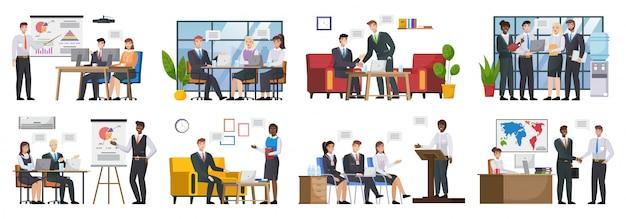 Trabajo en equipo o trabajo en equipo, reunión de negocios de oficina