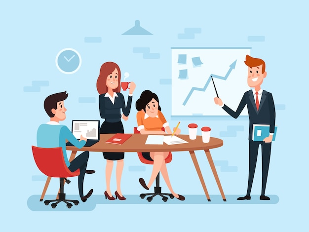 Trabajo en equipo de oficina o reunión de negocios.
