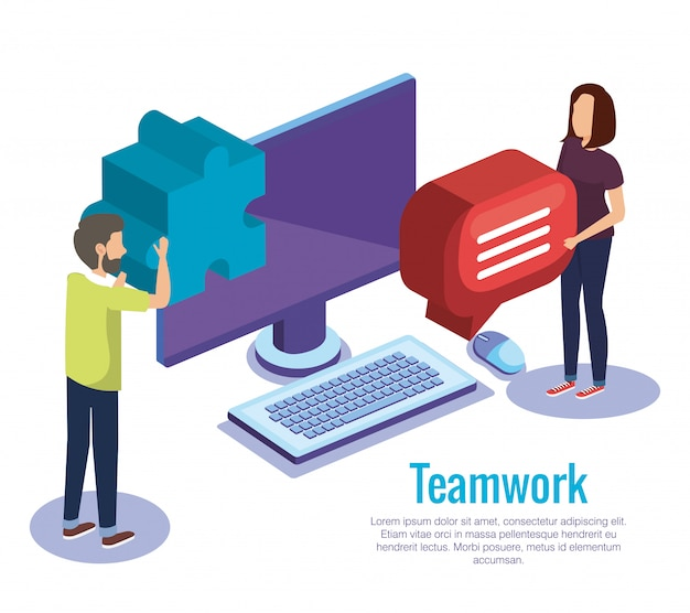 Trabajo en equipo en pareja con escritorio