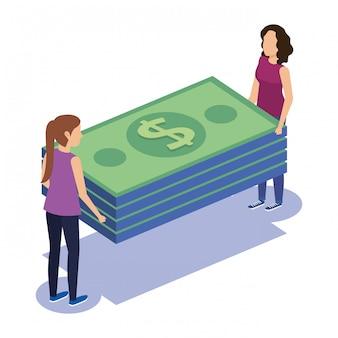 Trabajo en equipo de pareja con facturas
