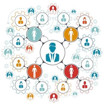 Trabajo en equipo de personas de negocios. jerarquía de la estructura de gestión del trabajo en equipo en la empresa.
