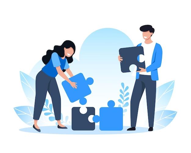 El trabajo en equipo, las personas reúnen las piezas del rompecabezas, las soluciones y la resolución de problemas.