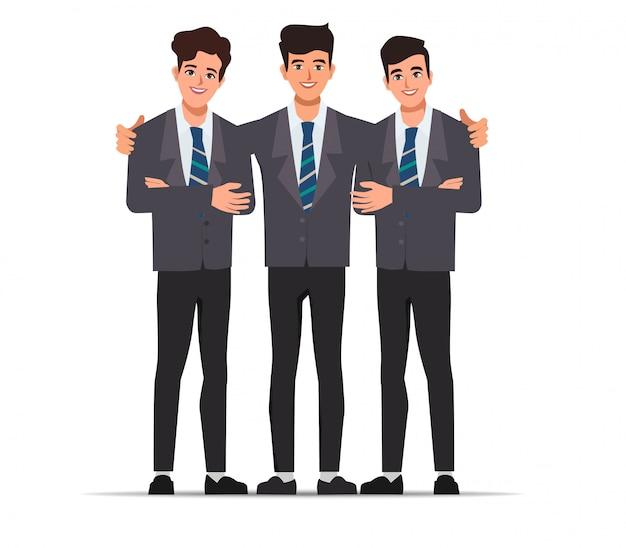 Trabajo en equipo de pose de carácter empresario. diseño plano de vector de caracteres.