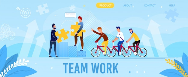 Trabajo en equipo profesional página de inicio de metáfora plana