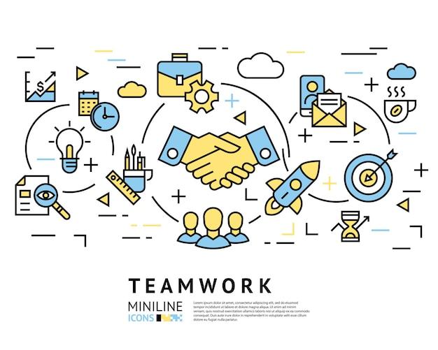 Trabajo en equipo, puesta en marcha, iconos de negocios