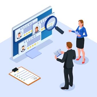 Trabajo en equipo que comprueba los datos del curriculum vitae del candidato en computadora ilustración de gente de negocios isométrica vector