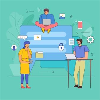 Trabajo en equipo que construye industria empresarial de conversación de mensajes. dibujos animados de línea de estilo gráfico de icono. ilustrar.
