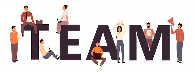 Trabajo en equipo. team building ilustración plana. concepto de colaboración empresarial y coworking. cooperación de empresarios y empresarias.