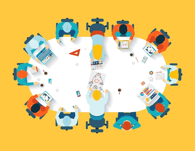 Trabajo en equipo. vista superior de lluvia de ideas de negocios. equipo de oficina, mesa de reuniones, personas y empresa.