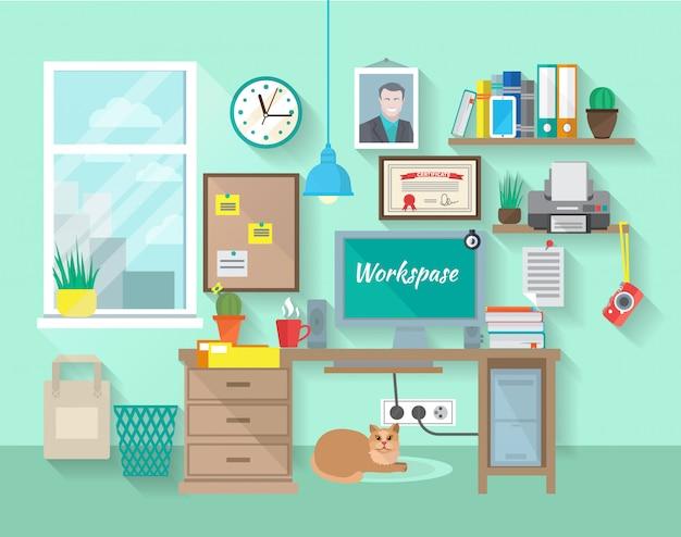 Trabajo de estudiante o empresario en habitación.