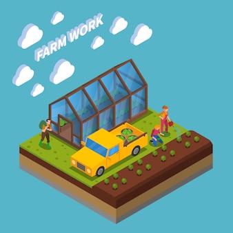 Trabajo de granja composición isométrica cultivo de hortalizas en invernadero y en campo azul