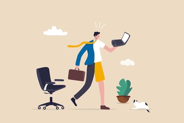 Trabajo híbrido después de la crisis de covid-19, elección de los empleados para trabajar de forma remota desde casa o en la oficina para obtener la mejor productividad