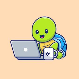 Trabajo lindo de la tortuga en la ilustración del ordenador portátil. personaje de dibujos animados de la mascota de tortuga. animal aislado