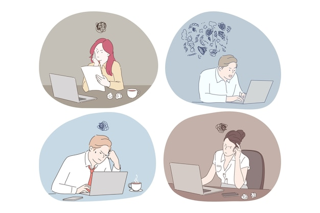 Trabajo en línea, pensando durante el trabajo con la computadora portátil en el concepto de oficina.