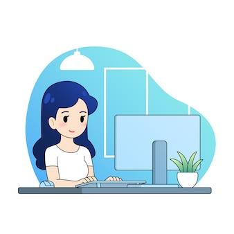 Trabajo de la mujer con la computadora de la ilustración de la casa, diseño plano de dibujos animados lindo.