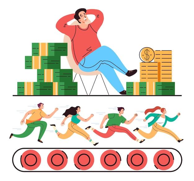 Trabajo de oficina, trabajo, jefe, dinero, esclavitud, concepto, vector, plano, caricatura, gráfico, ilustración