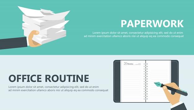 Trabajo de papel y rutina de oficina