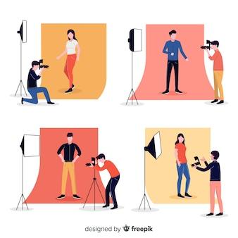 Trabajo de personaje de fotógrafo de dibujos animados