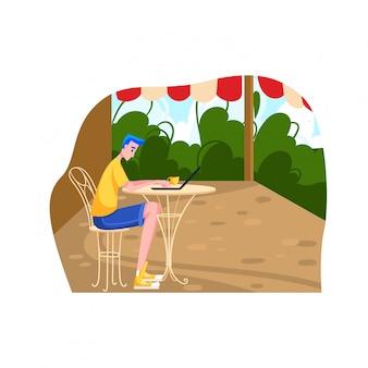 Trabajo de personaje independiente masculino en lugar tropical, hombre sentado lugar de trabajo remoto país caliente aislado en blanco, ilustración de dibujos animados.