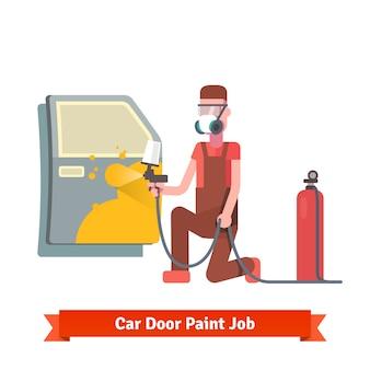 Trabajo de pintura de puerta de coche