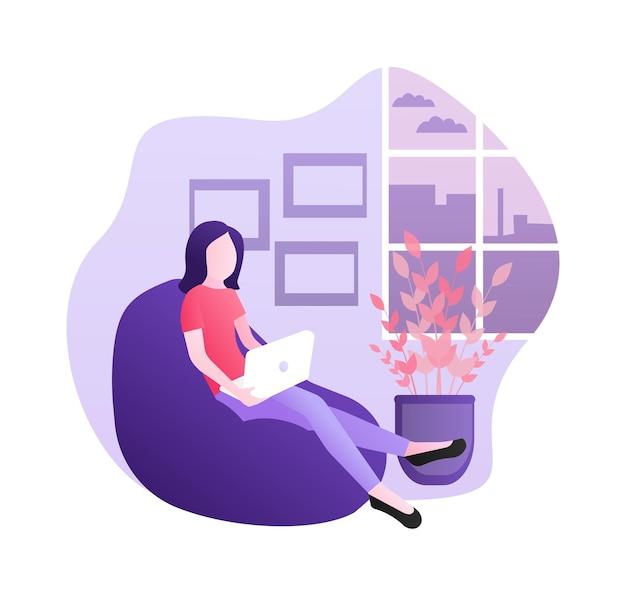 Trabajo plano desde casa. ilustración de quedarse en casa
