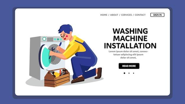 Trabajo de plomero de instalación de lavadora