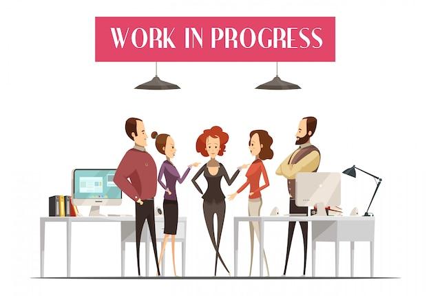 Trabajo en progreso diseño en estilo de dibujos animados con un grupo de hombres y mujeres