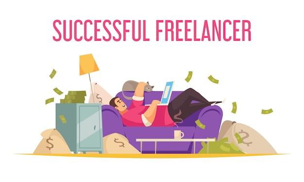 Trabajo remoto composición plana divertida con freelance exitoso en el sofá con laptop bañándose en dinero