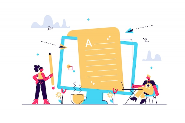 Trabajo remoto de creación de contenido, artículos, redacción y edición de texto. mercadotecnia interna. trabajo de redacción, redactor en casa, concepto de redacción independiente. concepto aislado ilustración creativa