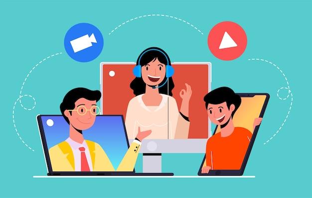 Trabajo de reuniones en línea desde casa, videoconferencia, concepto de ilustración plana moderna para sitio web