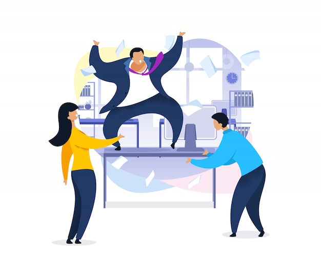 Trabajo rush, caos de oficina, ilustración plana