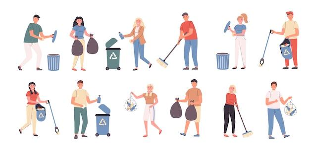 Trabajo voluntario, limpieza de la ciudad, conjunto plano de recolección de basura