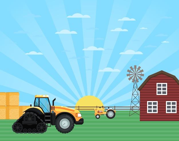 Trabajos agrícolas en el paisaje de tierras agrícolas
