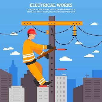 Trabajos eléctricos, ilustración vectorial plana