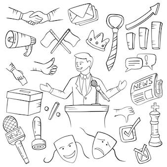 Trabajos políticos o profesión doodle colecciones de conjuntos dibujados a mano con estilo de contorno blanco y negro