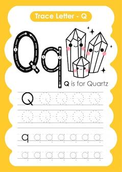 Trace letter alphabet q ejercicio con ilustración de vocabulario de dibujos animados