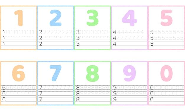 Trace el número de línea para los niños de kindergarten y preescolar.