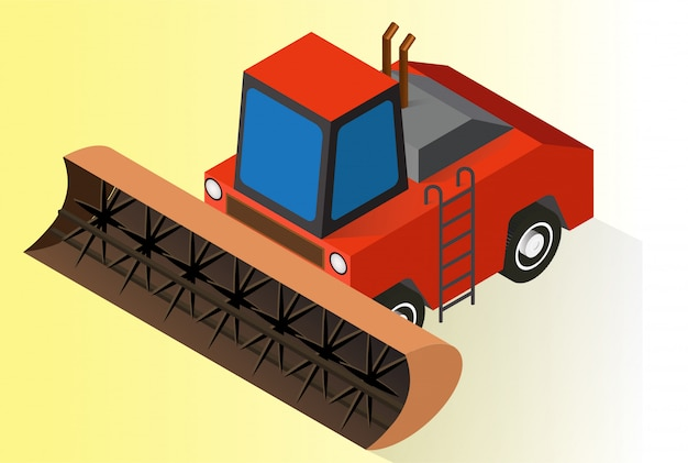 Tractor agrícola isométrico naranja o bulldozer