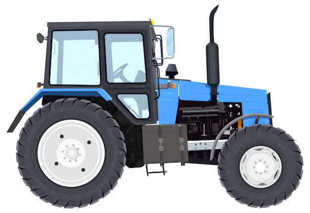 Tractor azul nuevo. maquinaria de agricultura. tractor de ruedas