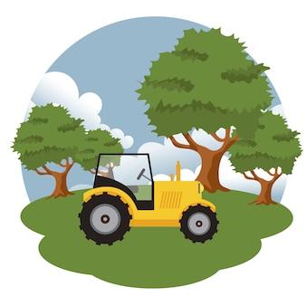 Tractor en la escena de la granja