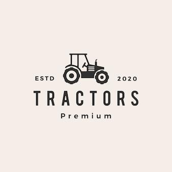 Tractor hipster vintage logo icono ilustración