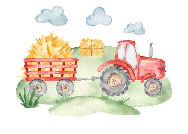 Tractor rojo de granja y remolque en estilo acuarela
