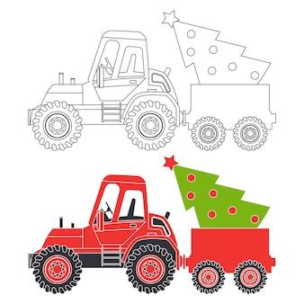 Tractor rojo con silueta de dibujos animados de árbol de navidad e ilustración de página de libro para colorear sobre un fondo blanco.