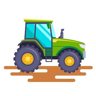 Tractor verde en el campo sobre un fondo blanco. ilustración.
